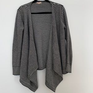 Black and White Stripe Open Front Cardigan